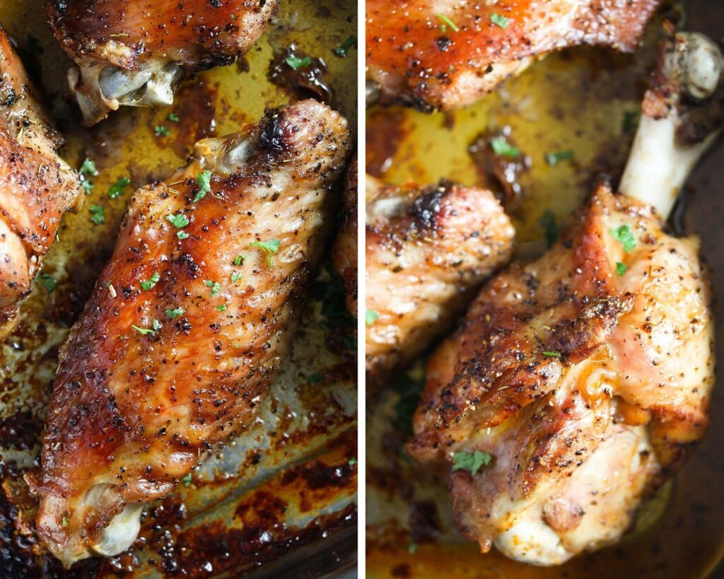 roasted turkey wingette and drumette close up