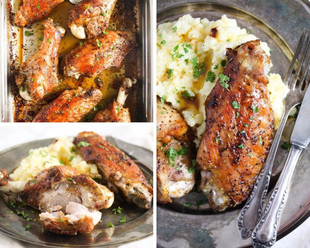 plate with turkey wings served over mashed potatoes