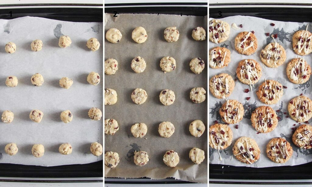 collage of 3 pictures with unbaked and baked cookies on a baking tray