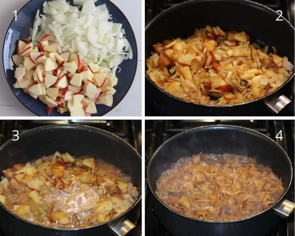 chopped raw onions and apples in a bowl and cooking them in a saucepan