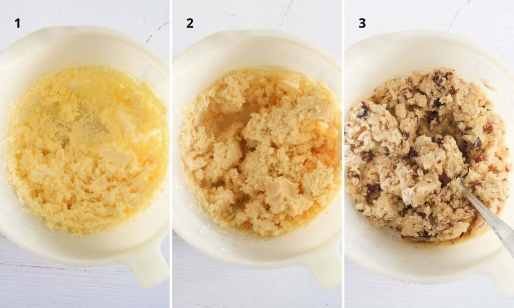 collage of 3 photos with cranberry oatmeal cookie dough