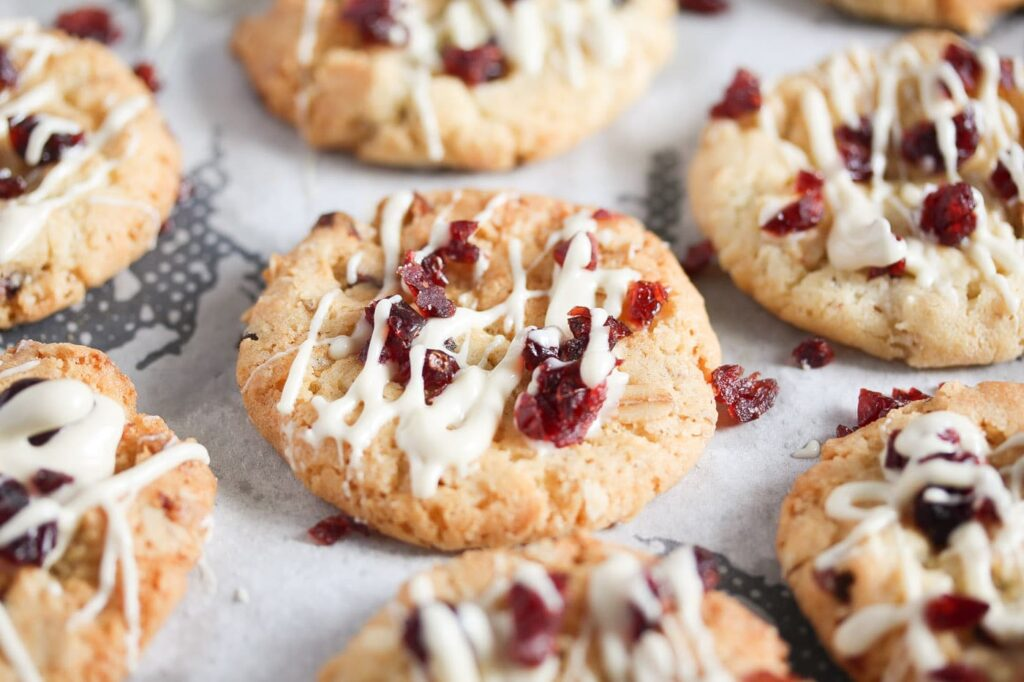 walnut oatmeal cookies with cranberries and white chocolate