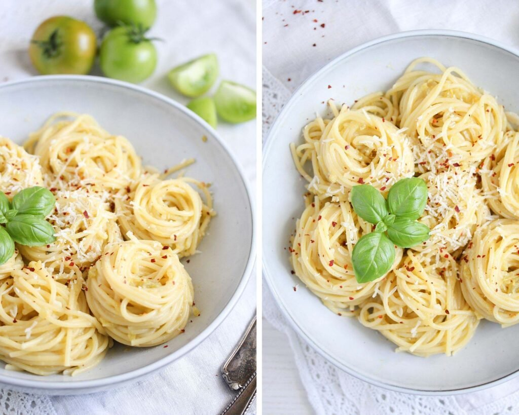 pasta nests with sauce and chili flakes on top