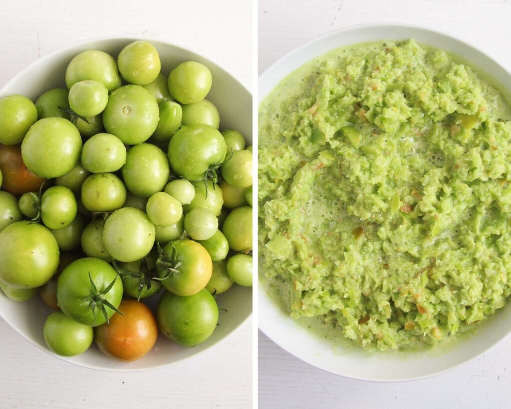green tomatoes whole and roughly blended in a bowl