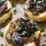 mini tarts filled with mushrooms and herbs