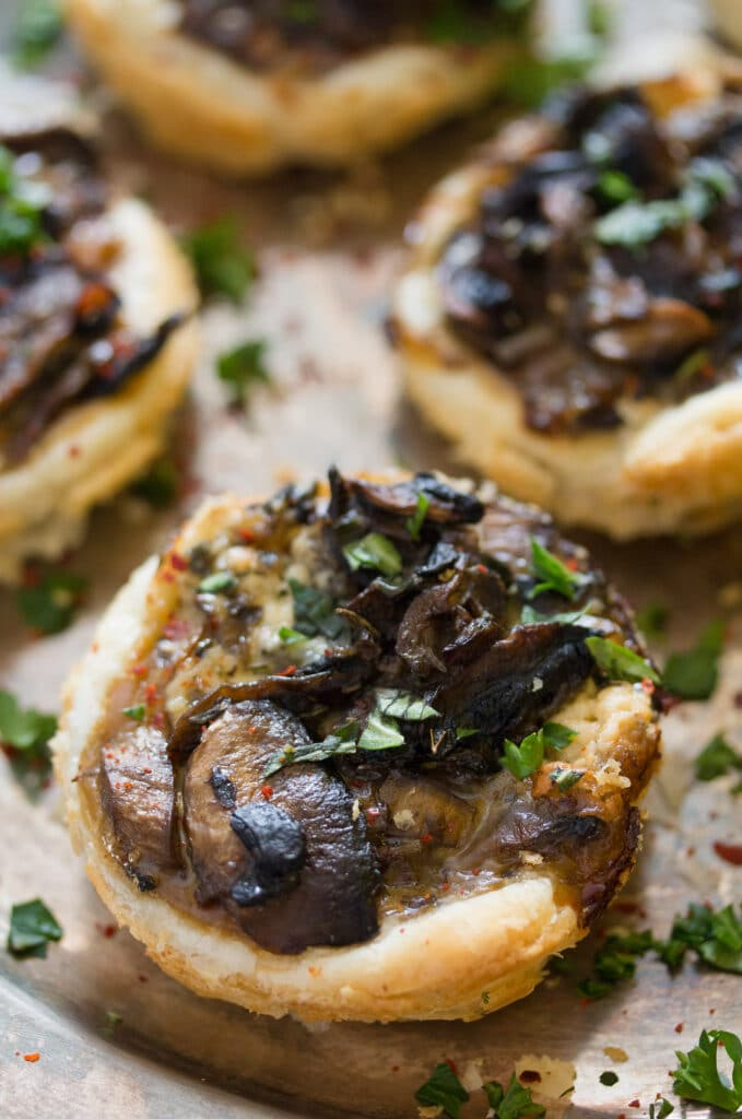 mushroom pies with puff pastry and parmesan