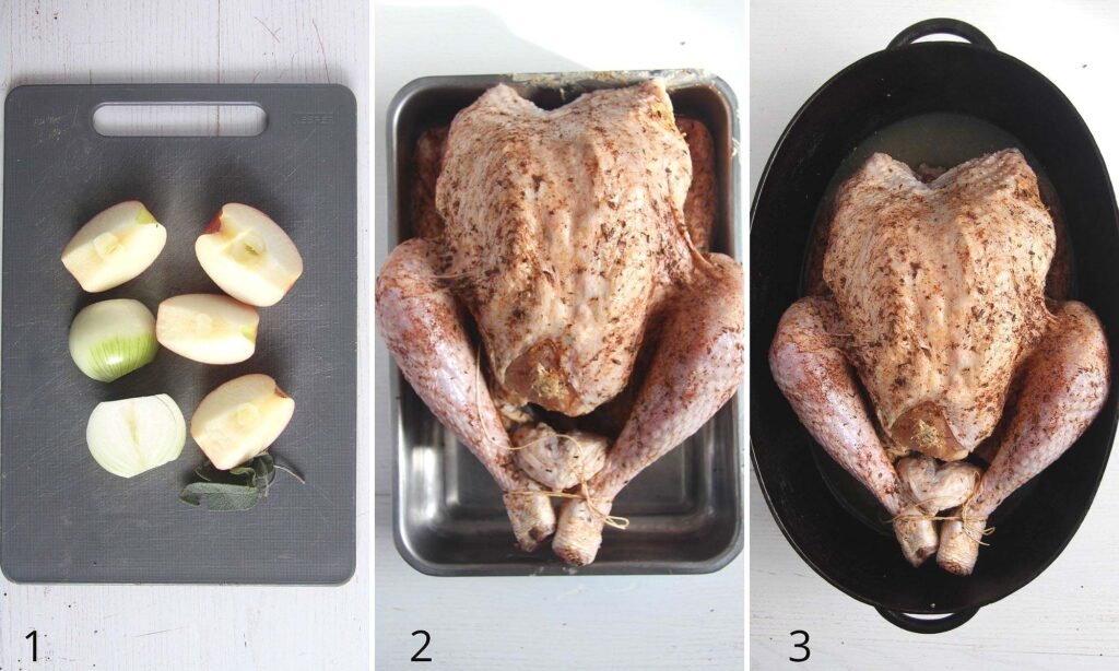 collage of three photos with stuffing and whole turkey in cooking pot