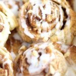 cinnamon pastry rolls close up shot for pinterest
