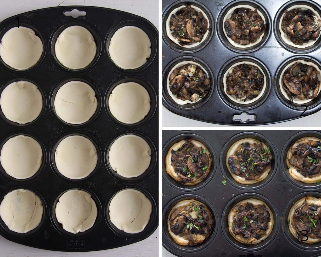 pressing puff pastry in muffin tin molds and filling with mushrooms