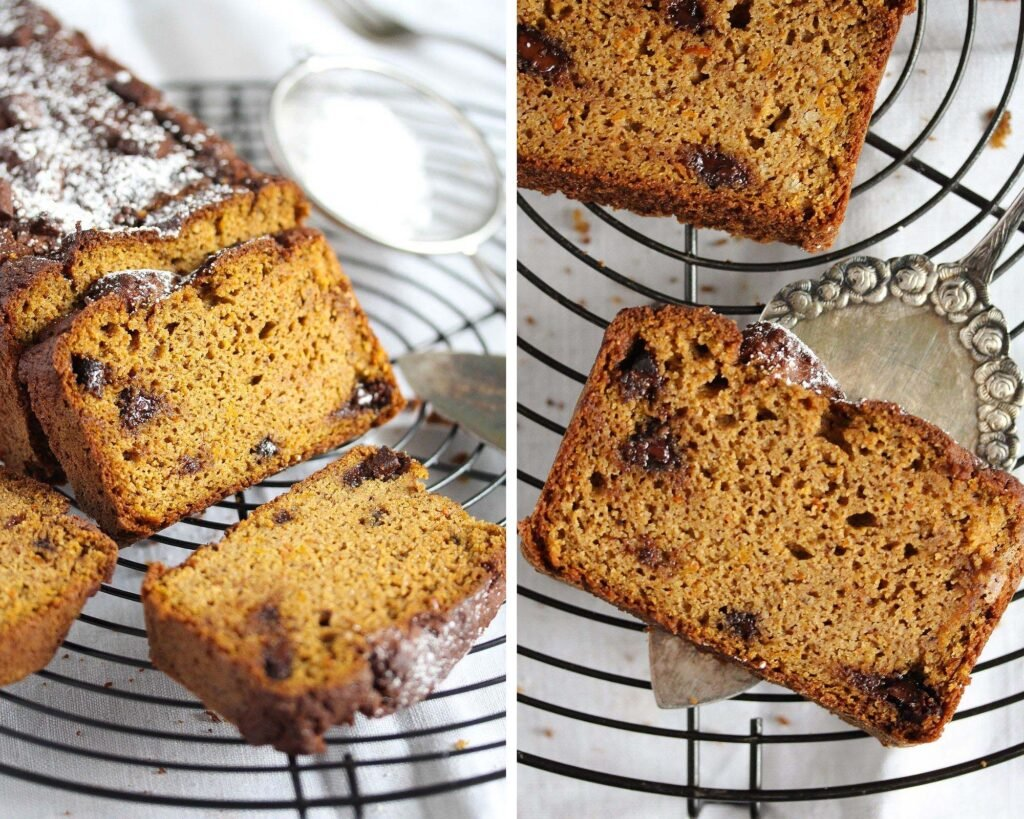 almond flour bread with pumpkin and chocolate