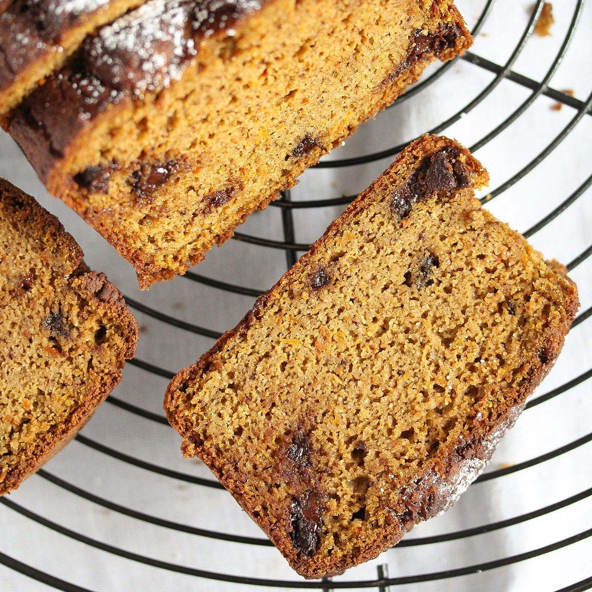 pumpkin almond flour bread sliced on a wire rack