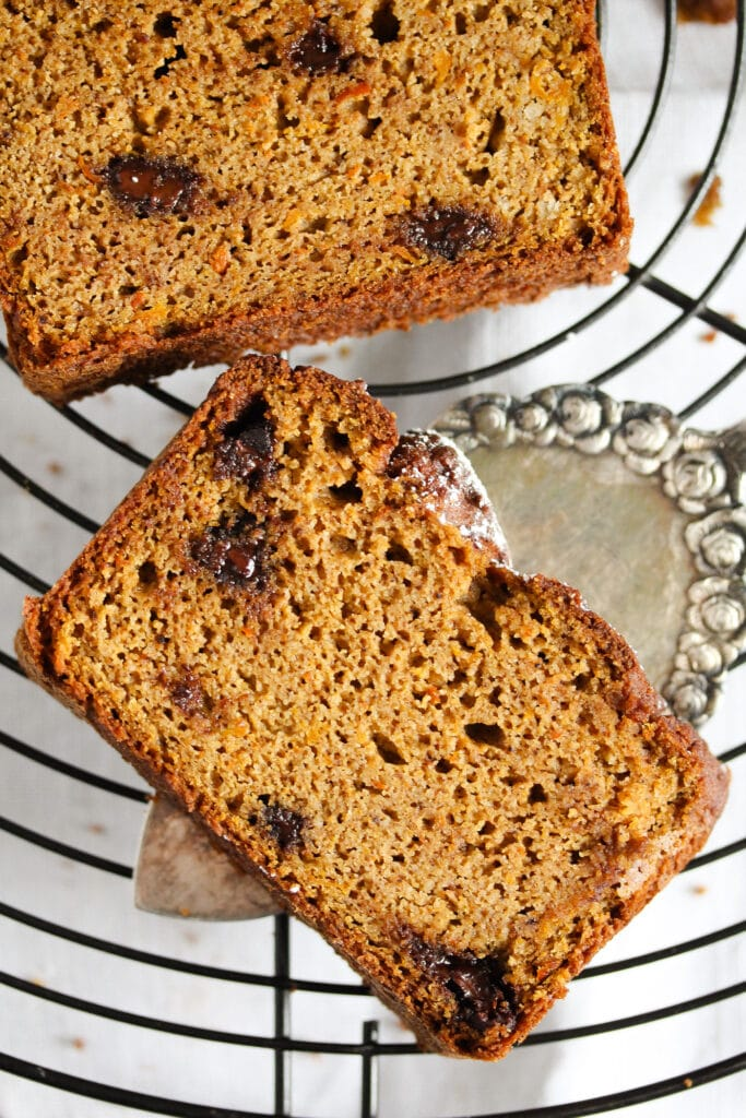 slice of healthier pumpkin bread with chocolate chips