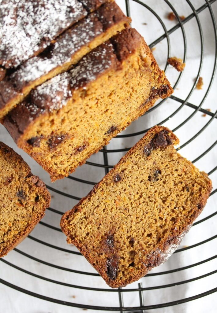 sliced almond flour pumpkin bread with chocolate chips