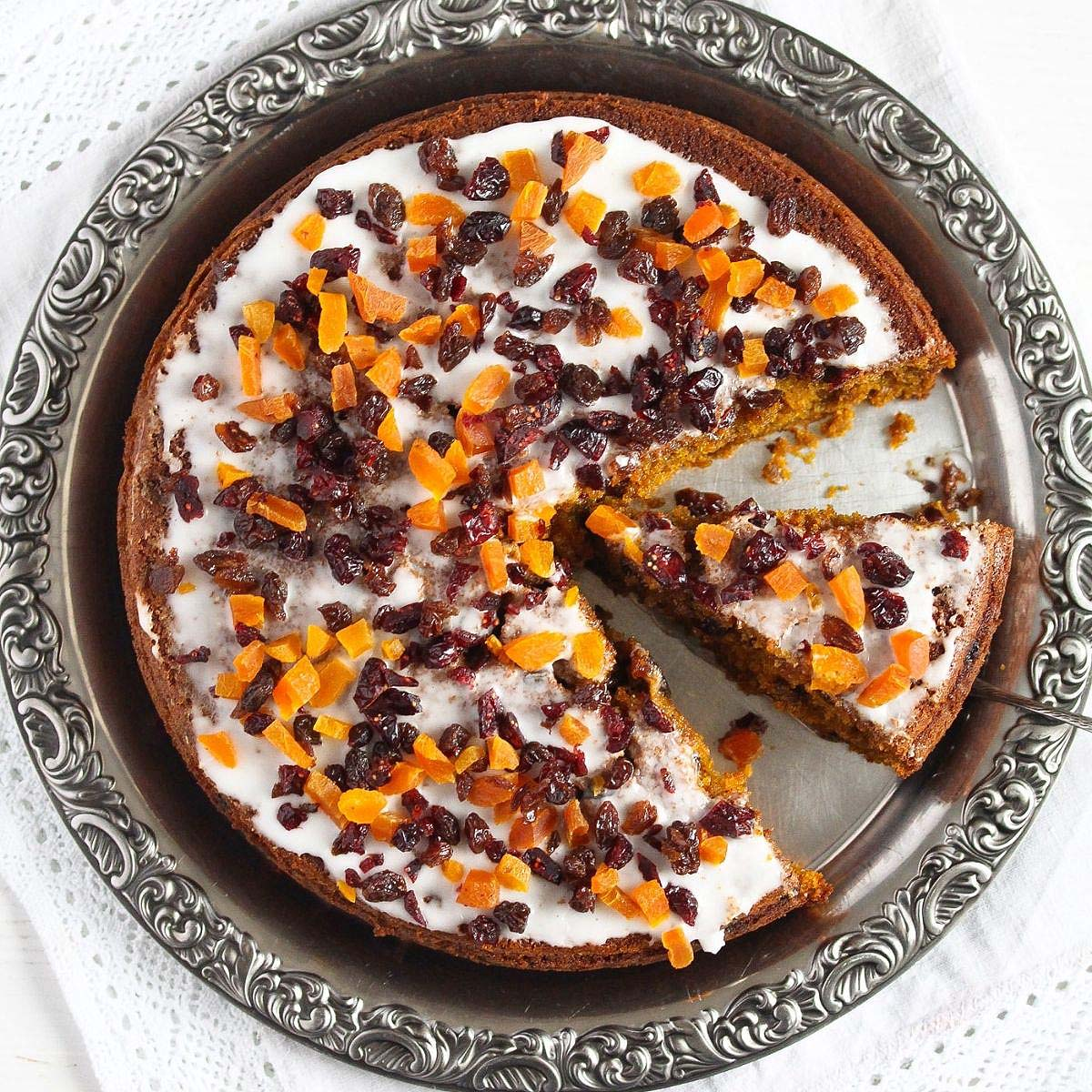 pumpkin fruitcake glazed and topped with dried fruit