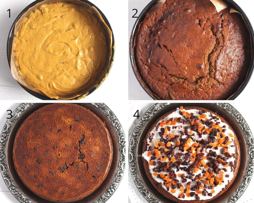 collage of 4 pictures showing the different stages of baking a fruitcake
