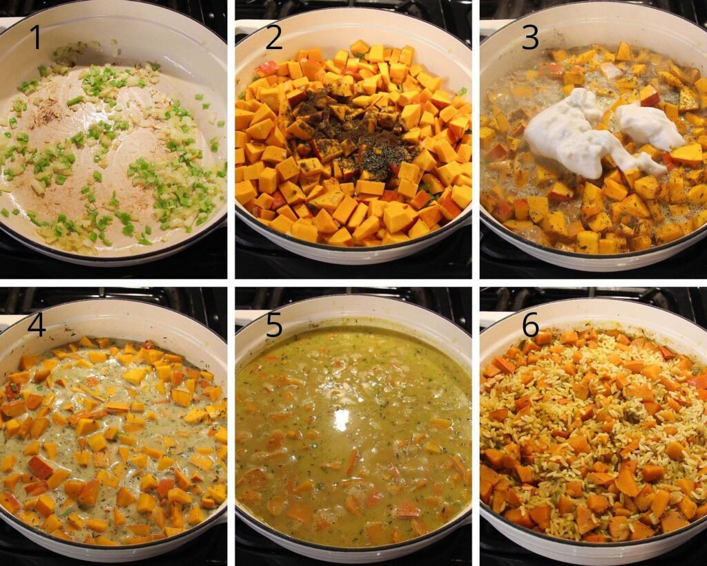 cooking onion, pumpkin cubes, adding coconut milk and cooking pumpkin rice in a white dutch oven