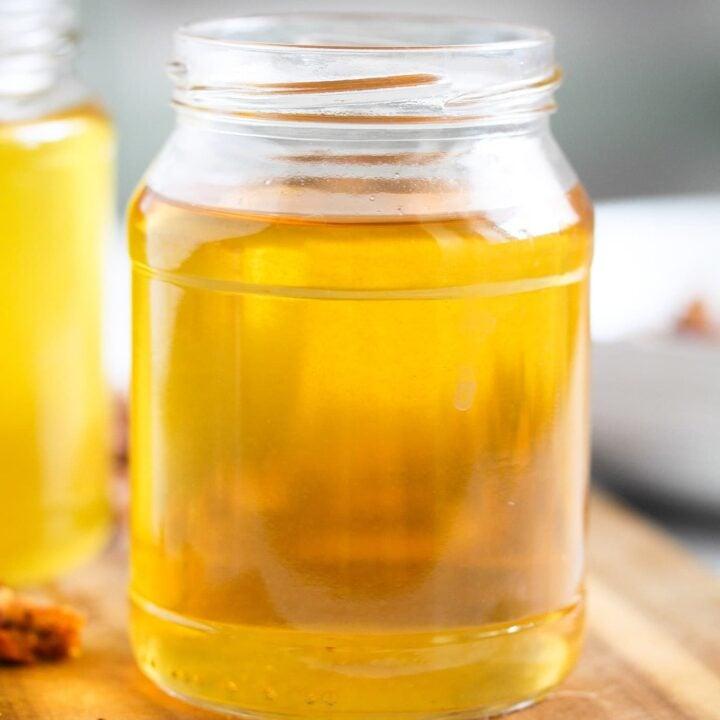 jar full of golden freshly rendered fat