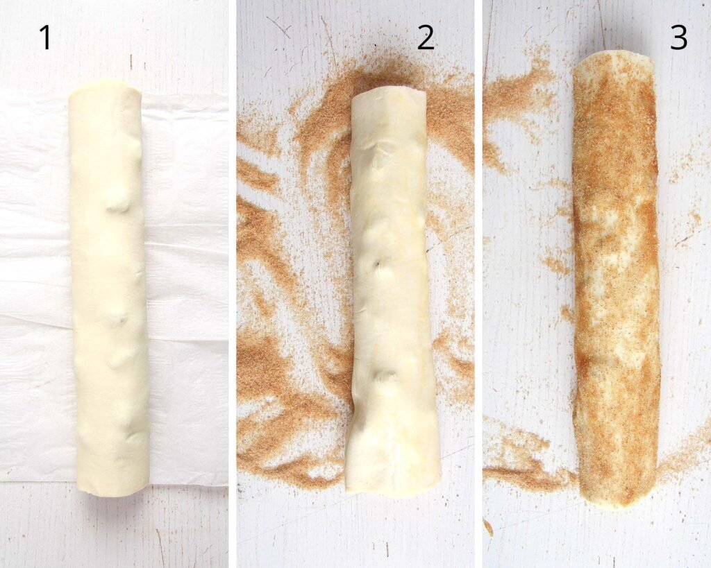 collage of rolled and sugar puff pastry