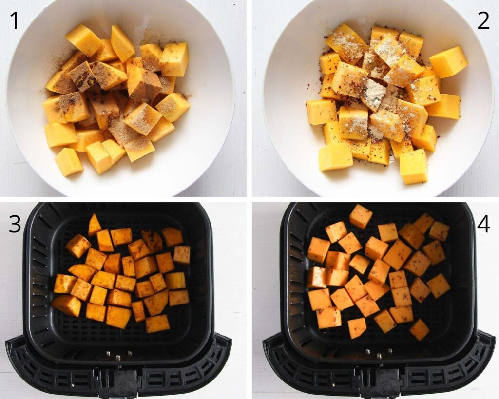 seasoned cubes of butternut squash in bowls and air fryer basket