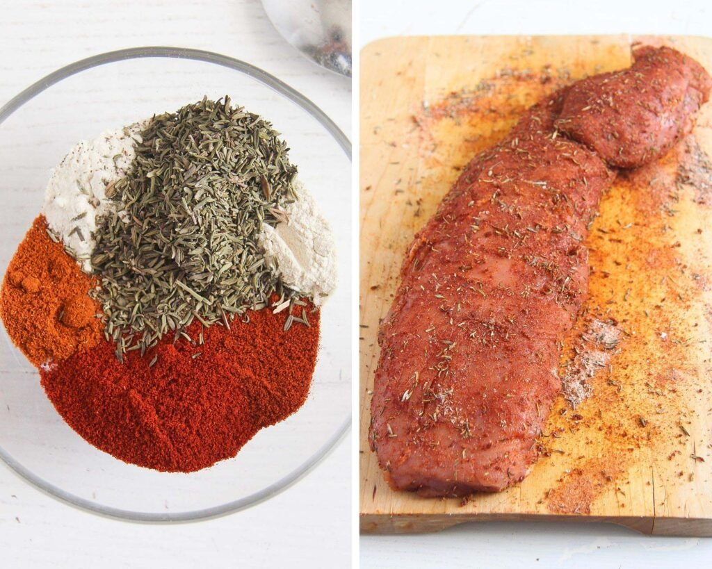 spice mixture in a bowl and rubbing a pork tenderloin with it