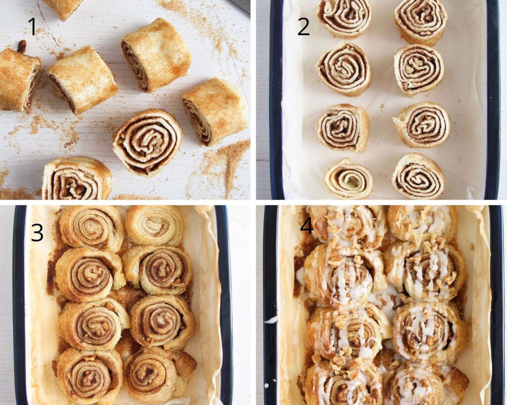 collage of photos showing how to cut and bake puff pastry rolls