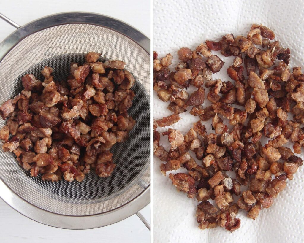 collage of two picture of cracklings in a sieve and on kitchen paper