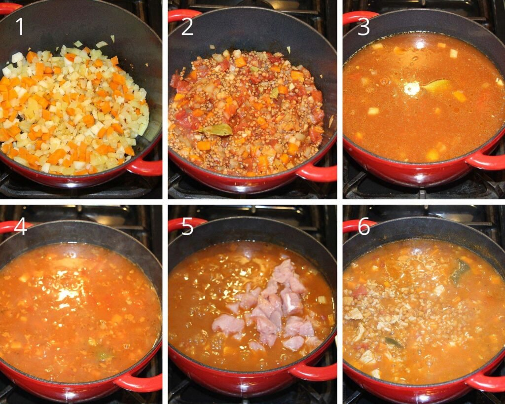 collage of 6 photos showing how to make lentil soup