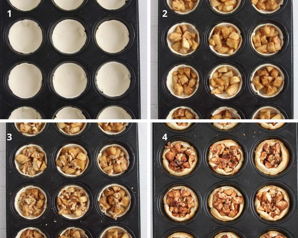 collage of four pictures showing how to make apple pies in muffin tin