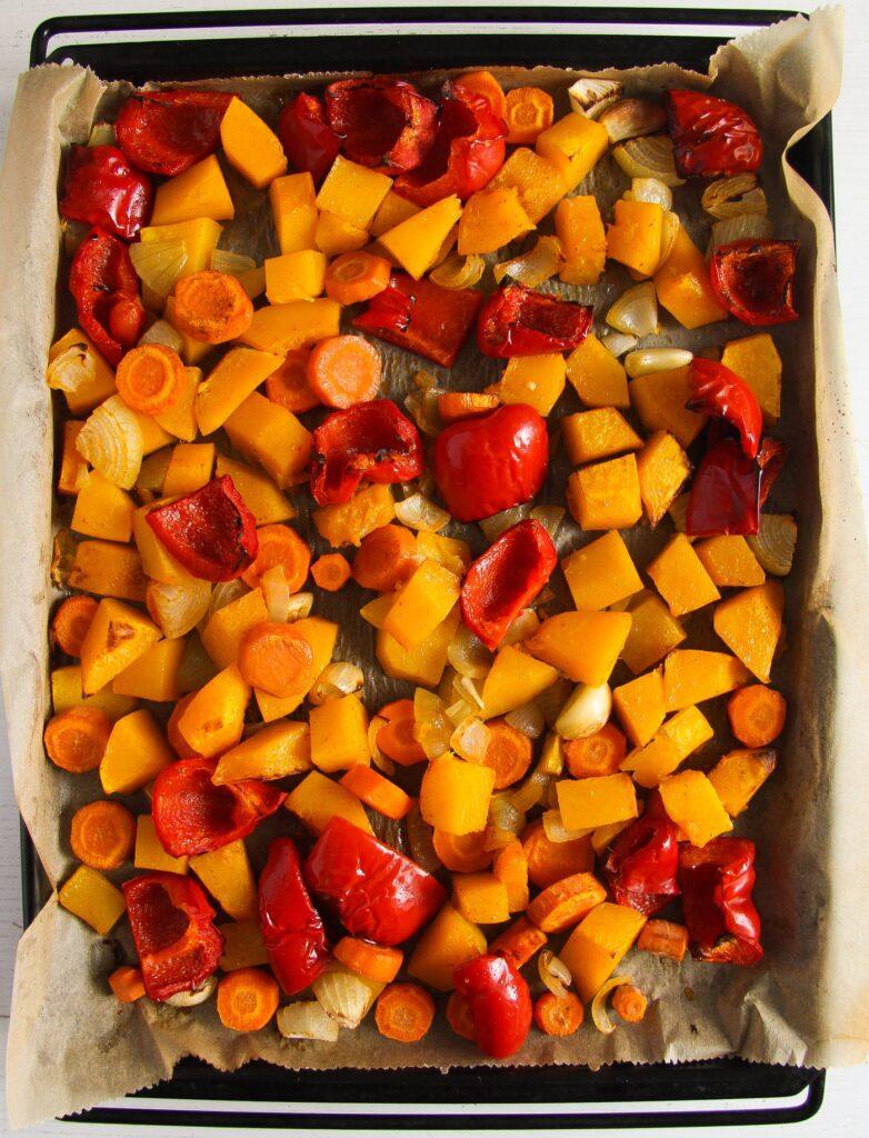 vegetable chunks roasted on a large baking tray