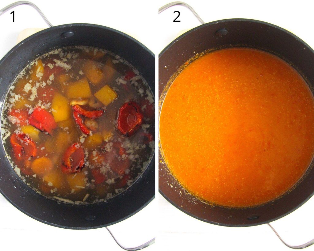 collage of two pictures with soup vegetables before and after blending