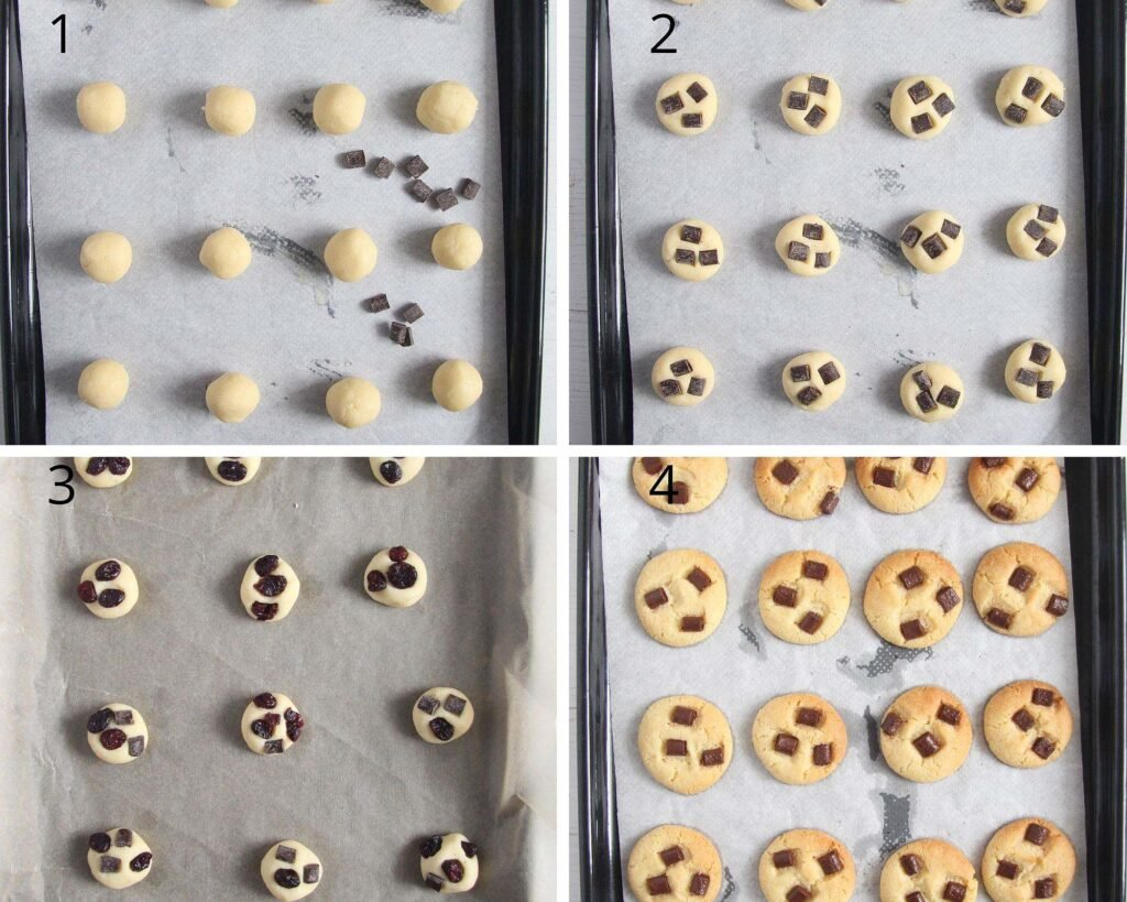 collage of four pictures showing how to form and top cookies