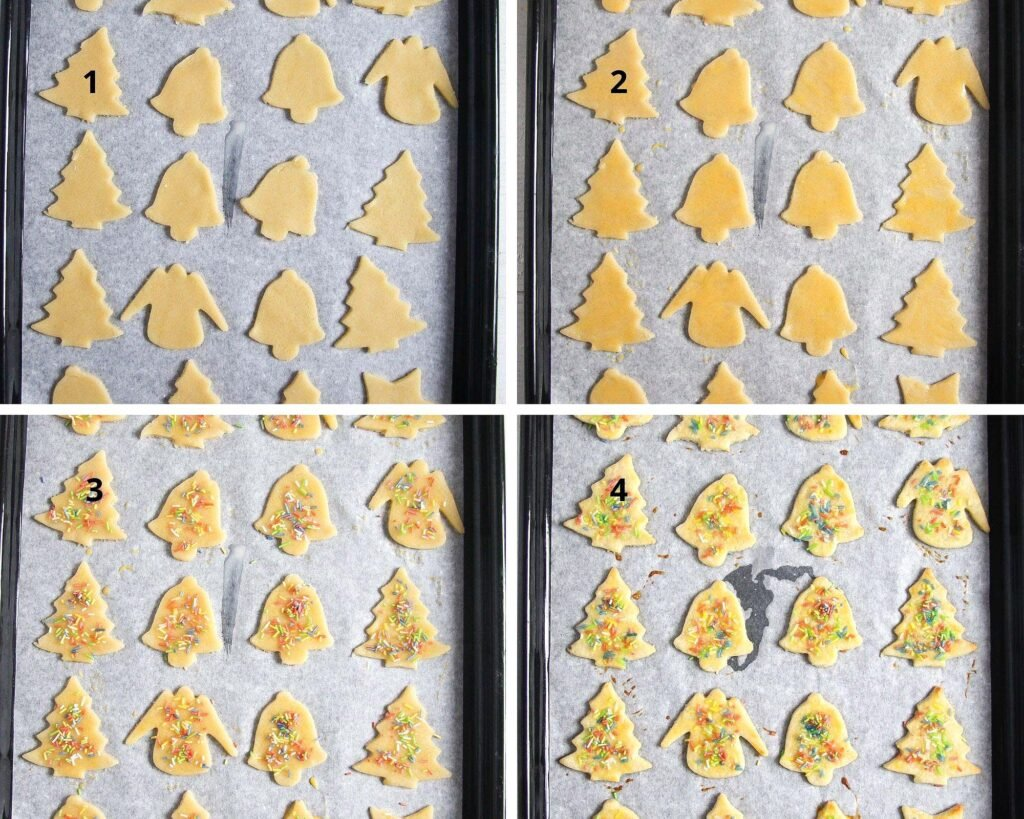 collage of four pictures of unbaked and baked cookies on a tray