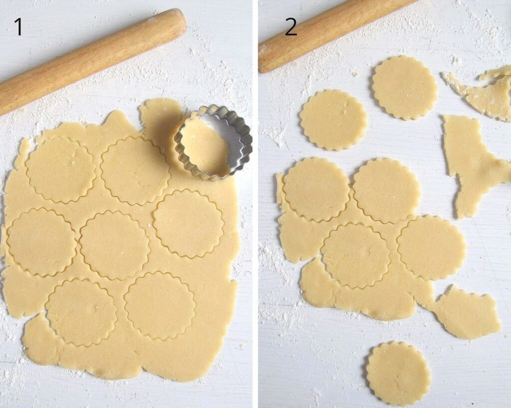 collage of two photos showing how to cut cookies from rolled dough