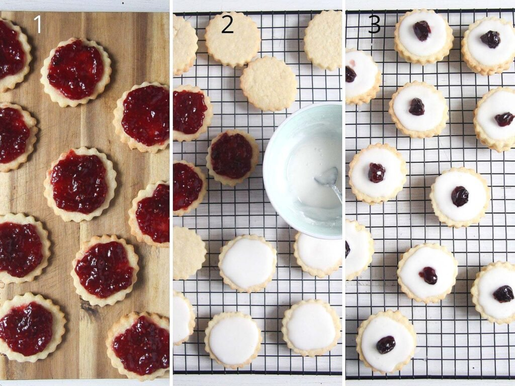 collage of three pictures showing how to fill and ice biscuits