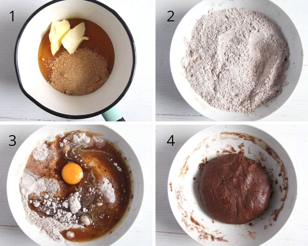 collage of four pictures showing how to mix gingerbread dough