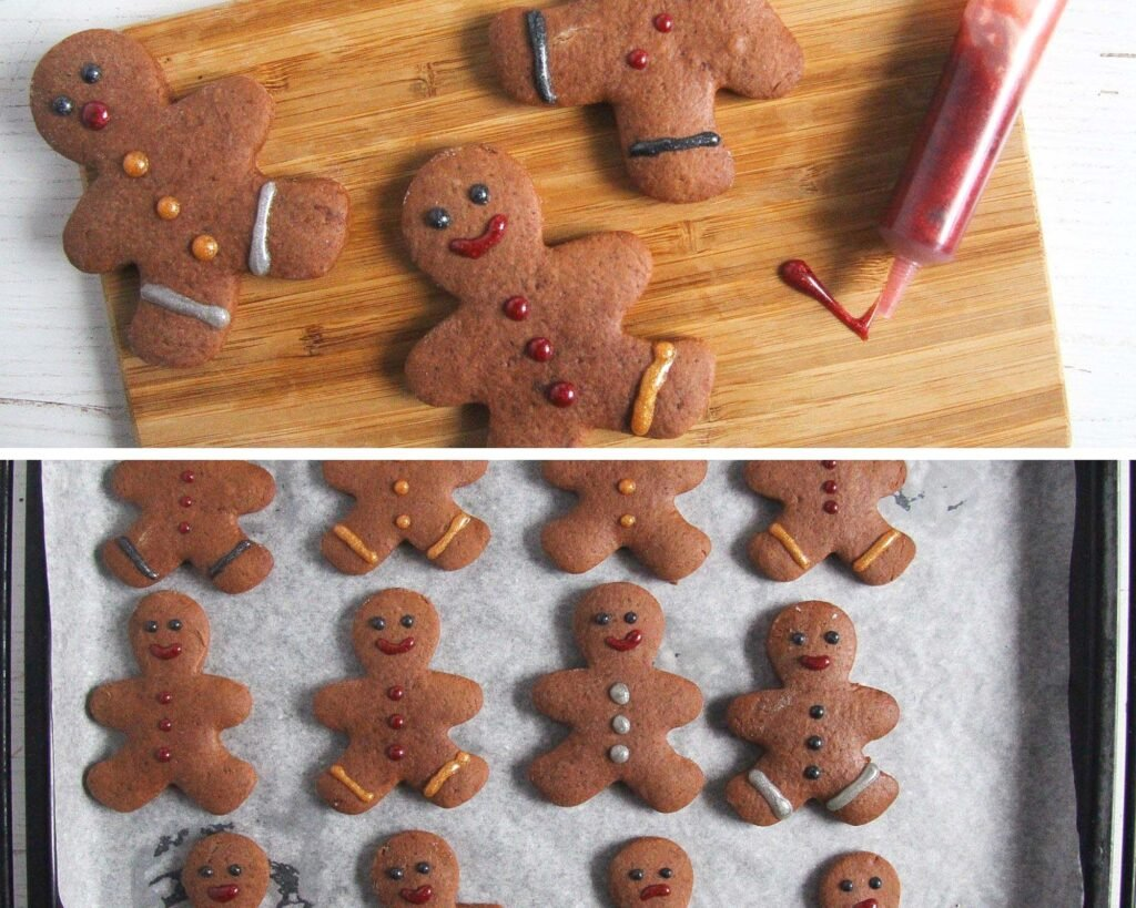 collage of two pictures showing how to decorated cookies