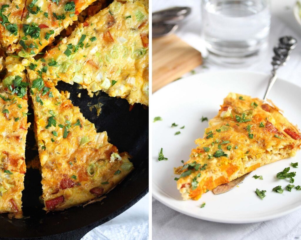 collage of two pictures with frittata in a skillet and a plate