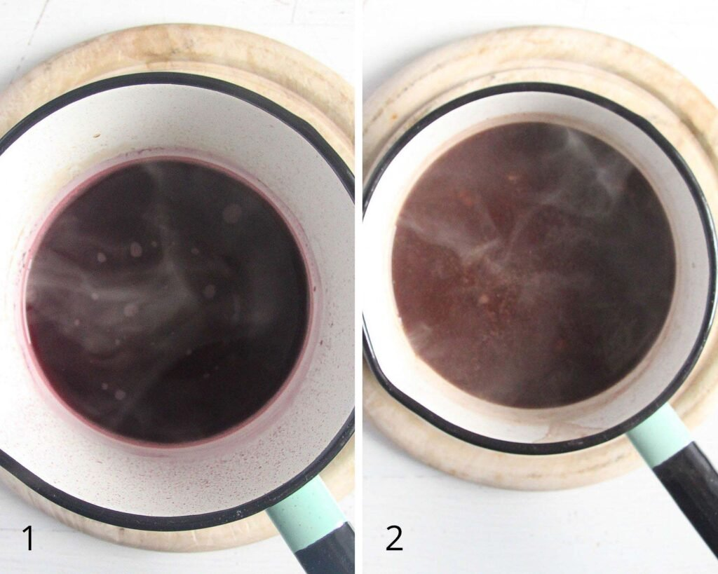 collage of two pictures of making red wine gravy in a small saucepan