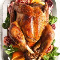 turkey with red wine gravy overhead view