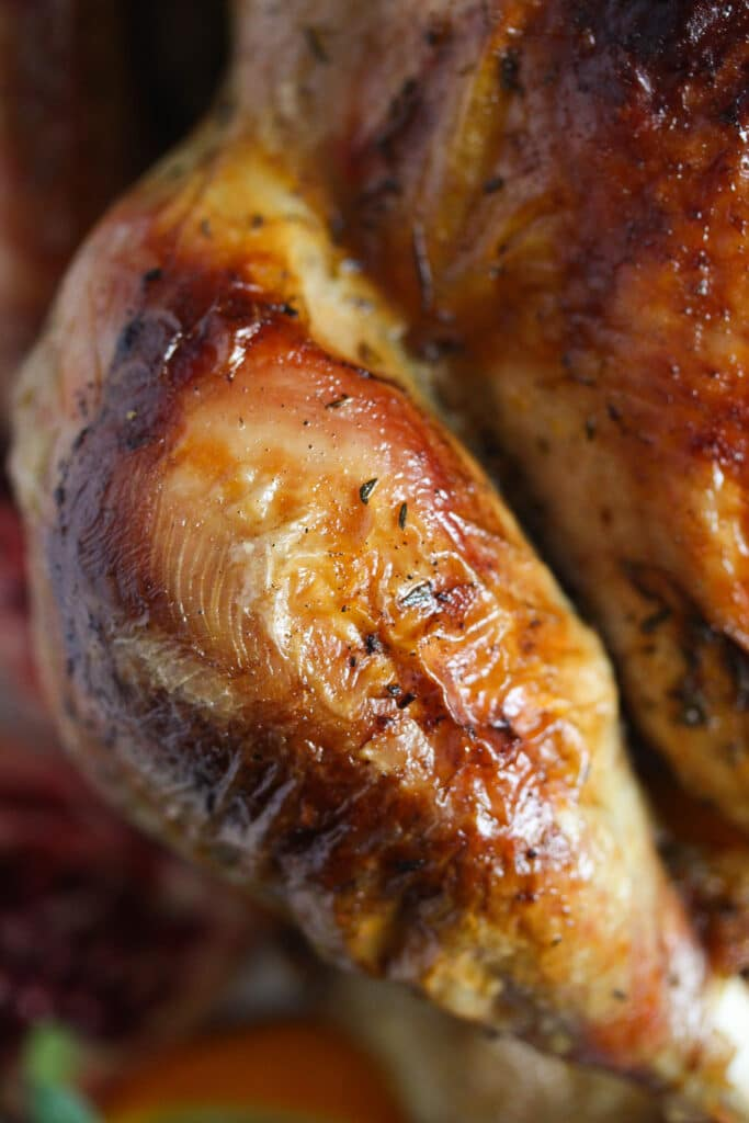 close up of a roasted turkey drumstick