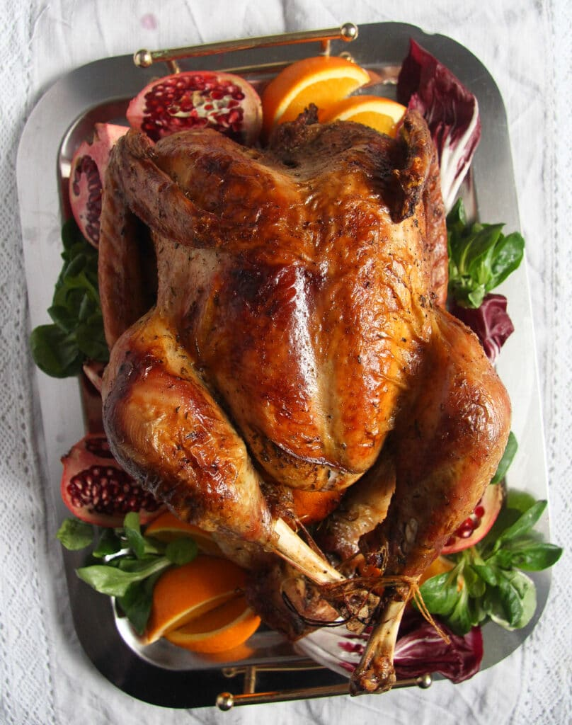 golden roasted turkey on a plate