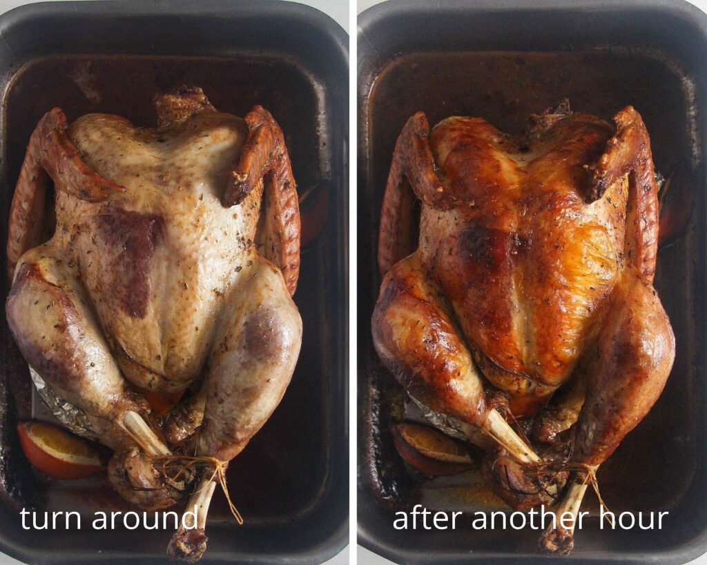collage of two pictures of roasting turkey