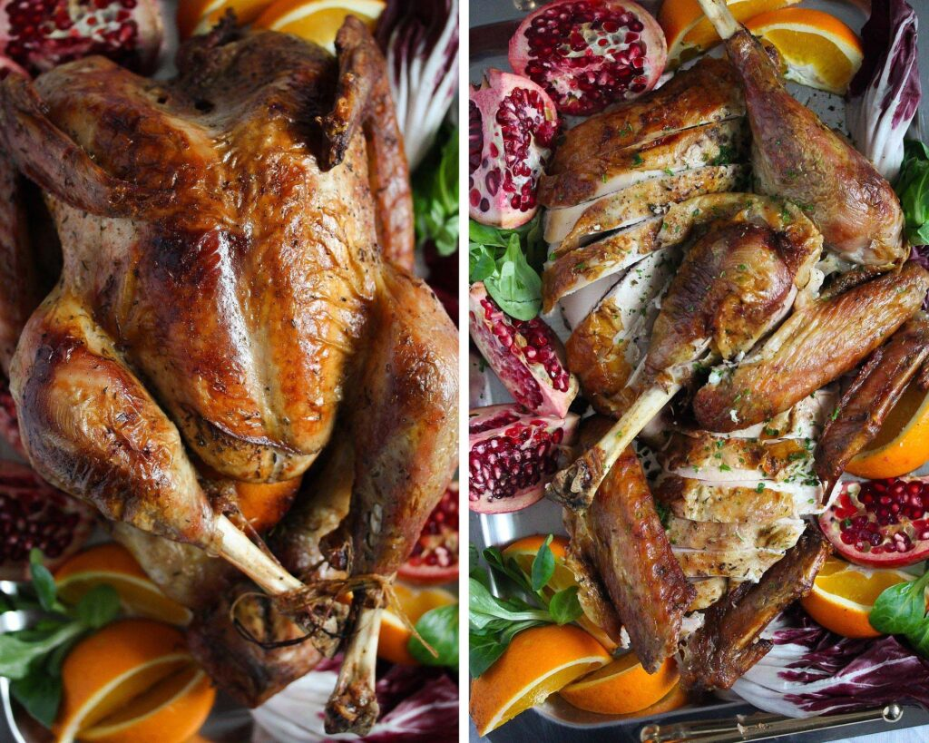 collage of two pictures of whole and carved turkey on a platter