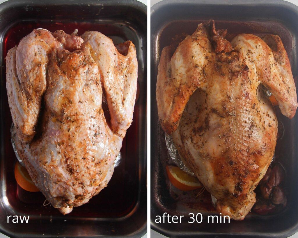 collage of two pictures of stages of roasting turkey
