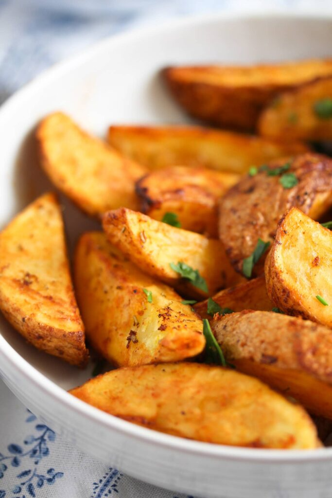 close up air fried potato wedges