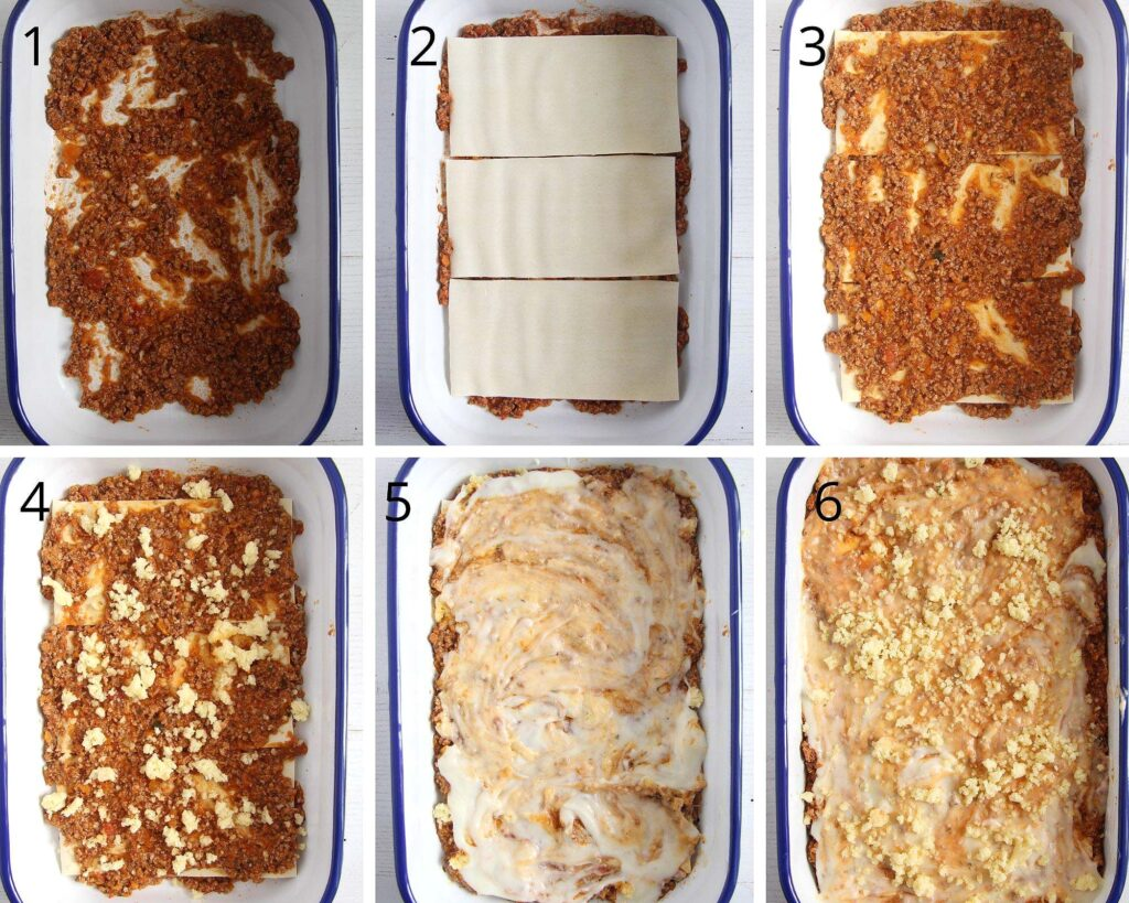 collage of six pictures showing how to assemble lasagne