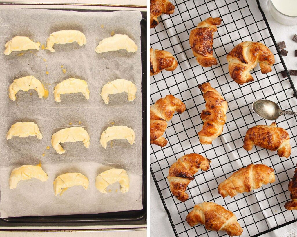mini croissants filled with chocolate before and after baking