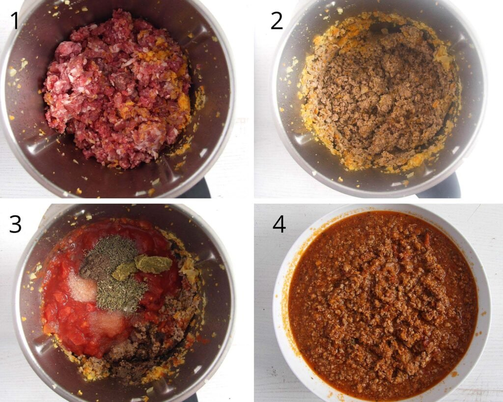 collage of four pictures of cooking meat sauce in thermomix