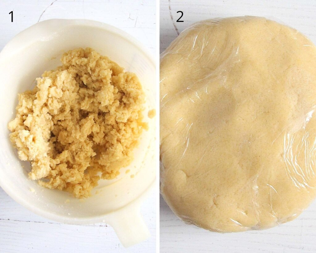 collage of two pictures showing shortcrust pastry