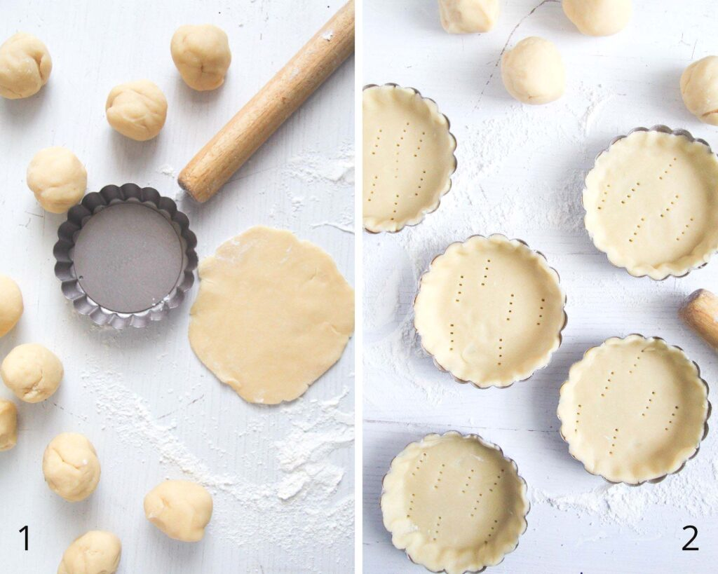 collage of two picture of rolling and placing dough in mini pie pans